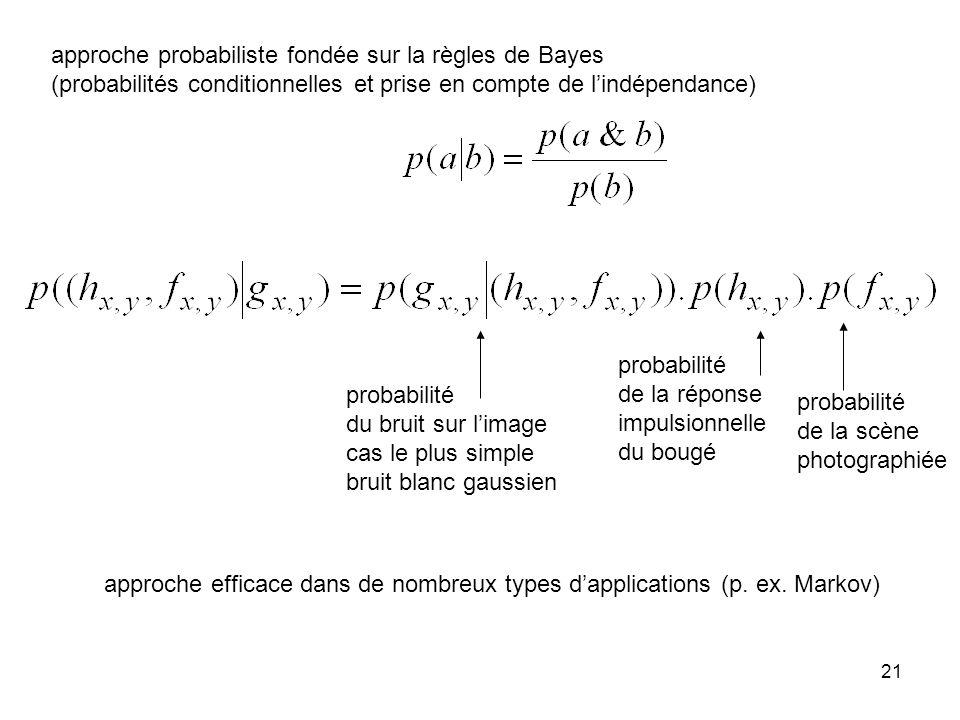 21 approche probabiliste fondée sur la règles de Bayes (probabilités conditionnelles et prise en compte de lindépendance) probabilité du bruit sur lim