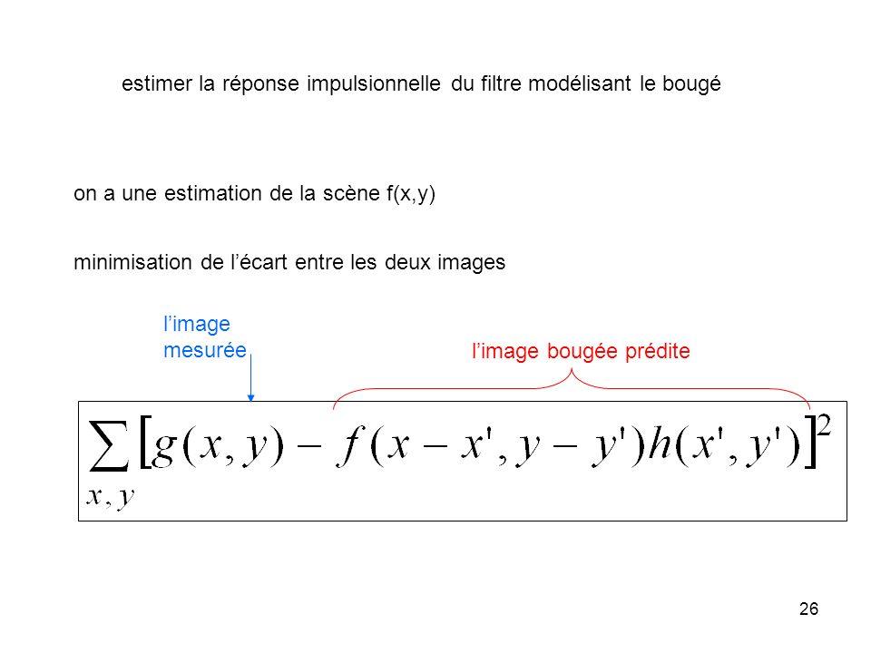 26 estimer la réponse impulsionnelle du filtre modélisant le bougé on a une estimation de la scène f(x,y) minimisation de lécart entre les deux images