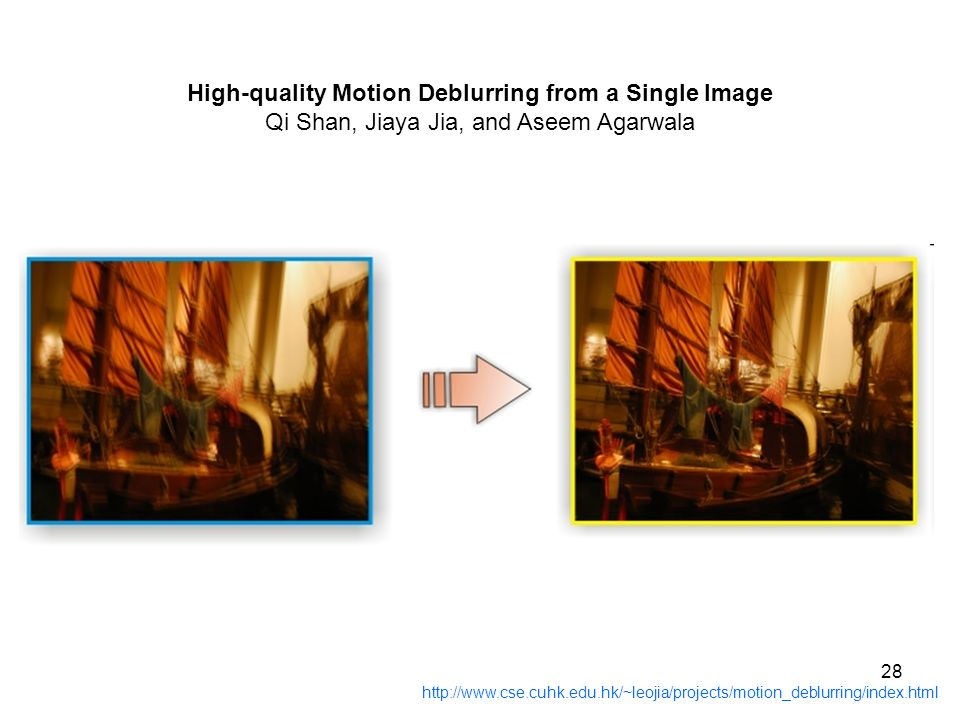 28 http://www.cse.cuhk.edu.hk/~leojia/projects/motion_deblurring/index.html High-quality Motion Deblurring from a Single Image Qi Shan, Jiaya Jia, and