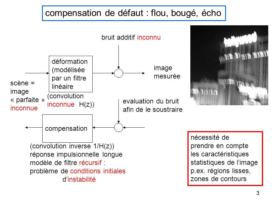 4 scène estimée filtre estimé caractéristiques du bruit compensation de défaut : flou, bougé, écho image mesurée différence g(x,y)=f(x,y)*h(x,y)+b(x,y) image déformée mesurée scène théorique inconnue convolution par une déformation réponse impulsionnelle h inconnue bruit de mesure b(x,y) g(x,y) h(x,y) f(x,y)