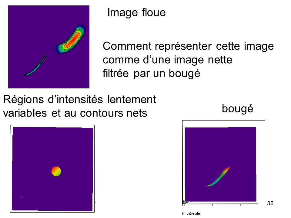 36 Image floue Comment représenter cette image comme dune image nette filtrée par un bougé Régions dintensités lentement variables et au contours nets