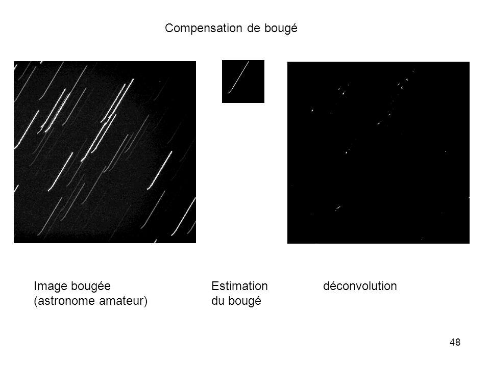 48 Image bougée (astronome amateur) Estimation du bougé déconvolution Compensation de bougé