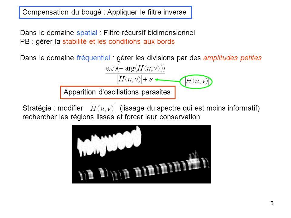 5 Compensation du bougé : Appliquer le filtre inverse Dans le domaine spatial : Filtre récursif bidimensionnel PB : gérer la stabilité et les conditio