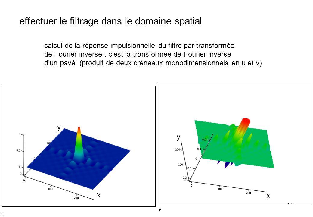 22 effectuer le filtrage dans le domaine spatial calcul de la réponse impulsionnelle du filtre par transformée de Fourier inverse : cest la transformé