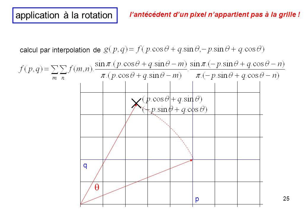 25 application à la rotation p q lantécédent dun pixel nappartient pas à la grille ! calcul par interpolation de