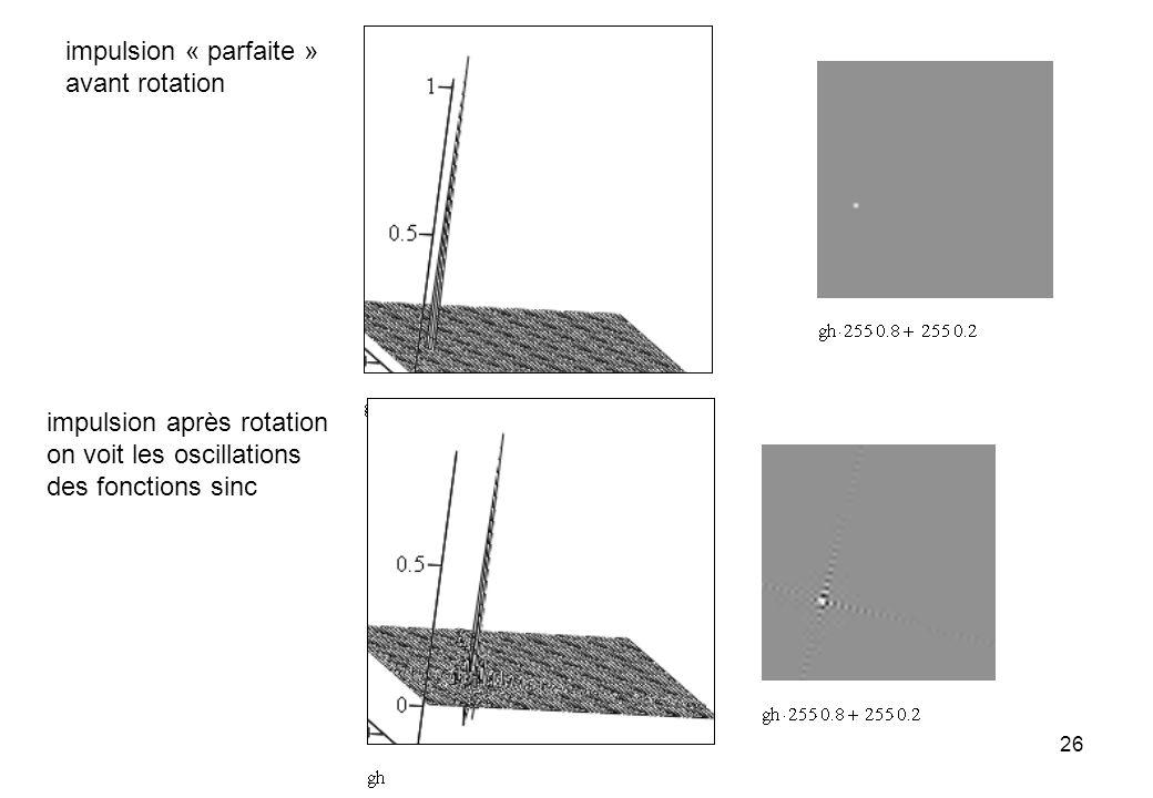 26 impulsion « parfaite » avant rotation impulsion après rotation on voit les oscillations des fonctions sinc