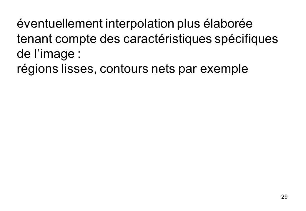 29 éventuellement interpolation plus élaborée tenant compte des caractéristiques spécifiques de limage : régions lisses, contours nets par exemple
