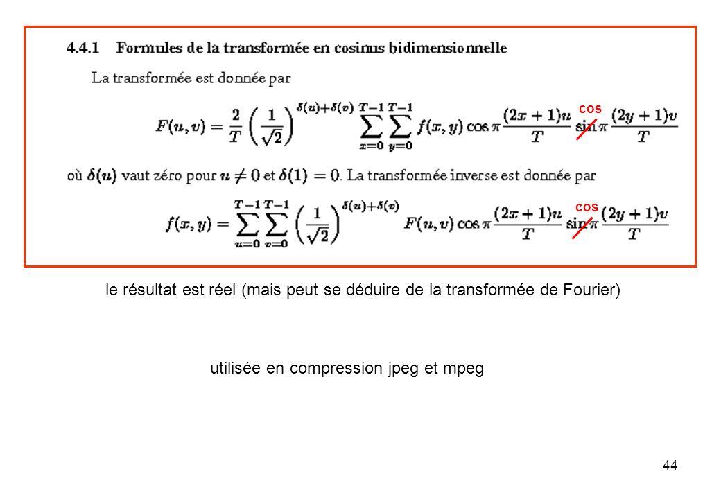 44 le résultat est réel (mais peut se déduire de la transformée de Fourier) utilisée en compression jpeg et mpeg cos
