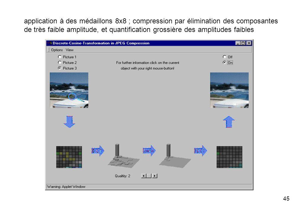 45 application à des médaillons 8x8 ; compression par élimination des composantes de très faible amplitude, et quantification grossière des amplitudes