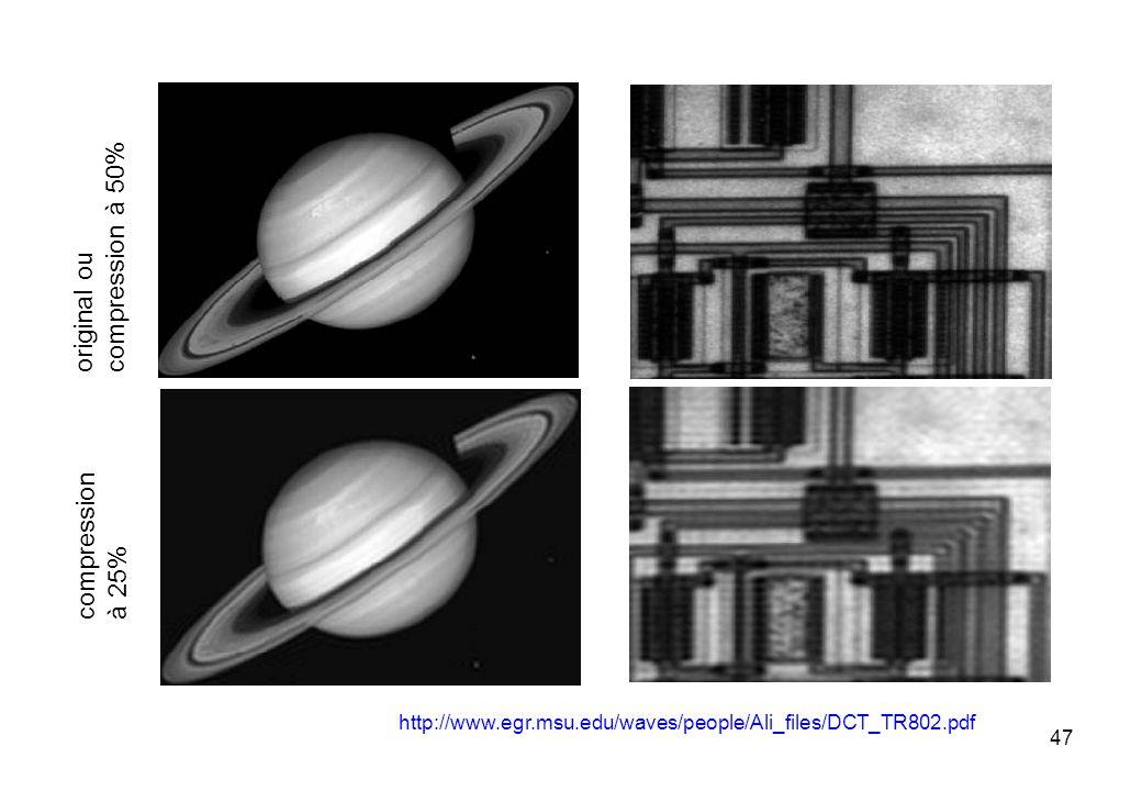 47 http://www.egr.msu.edu/waves/people/Ali_files/DCT_TR802.pdf original ou compression à 50% compression à 25%