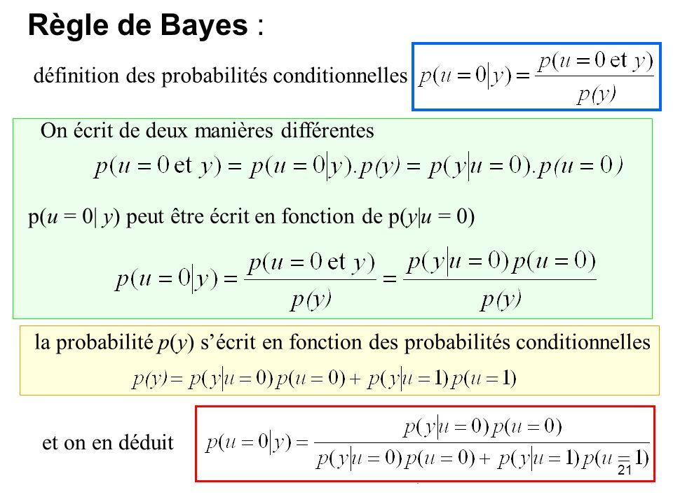 21 définition des probabilités conditionnelles On écrit de deux manières différentes p(u = 0| y) peut être écrit en fonction de p(y|u = 0) la probabil