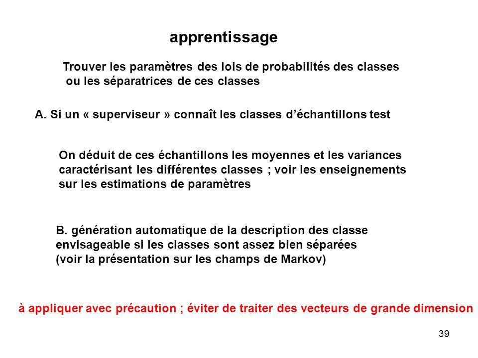 39 apprentissage Trouver les paramètres des lois de probabilités des classes ou les séparatrices de ces classes A. Si un « superviseur » connaît les c