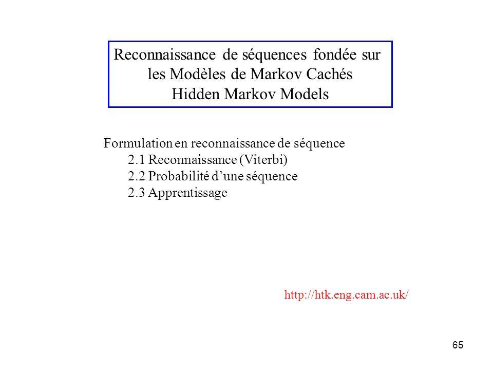 65 Reconnaissance de séquences fondée sur les Modèles de Markov Cachés Hidden Markov Models Formulation en reconnaissance de séquence 2.1 Reconnaissan