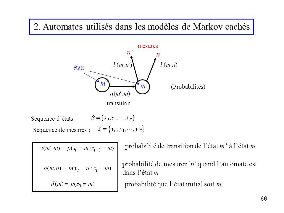 66 transition mesures 2. Automates utilisés dans les modèles de Markov cachés Séquence détats : Séquence de mesures : (Probabilités) états n n m m pro