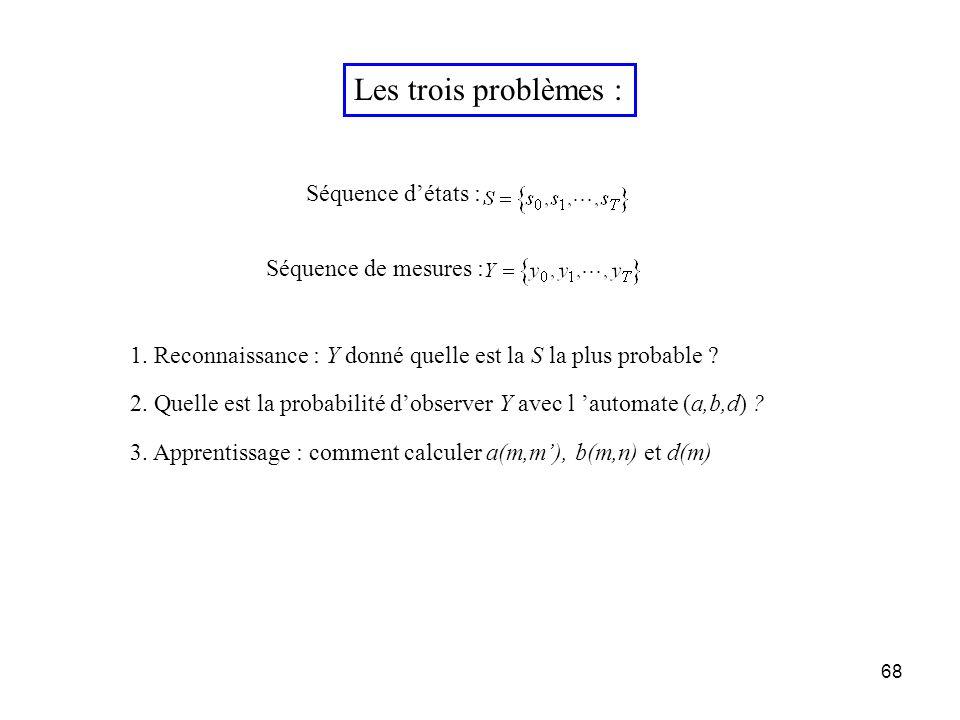 68 Les trois problèmes : 1. Reconnaissance : Y donné quelle est la S la plus probable ? 2. Quelle est la probabilité dobserver Y avec l automate (a,b,