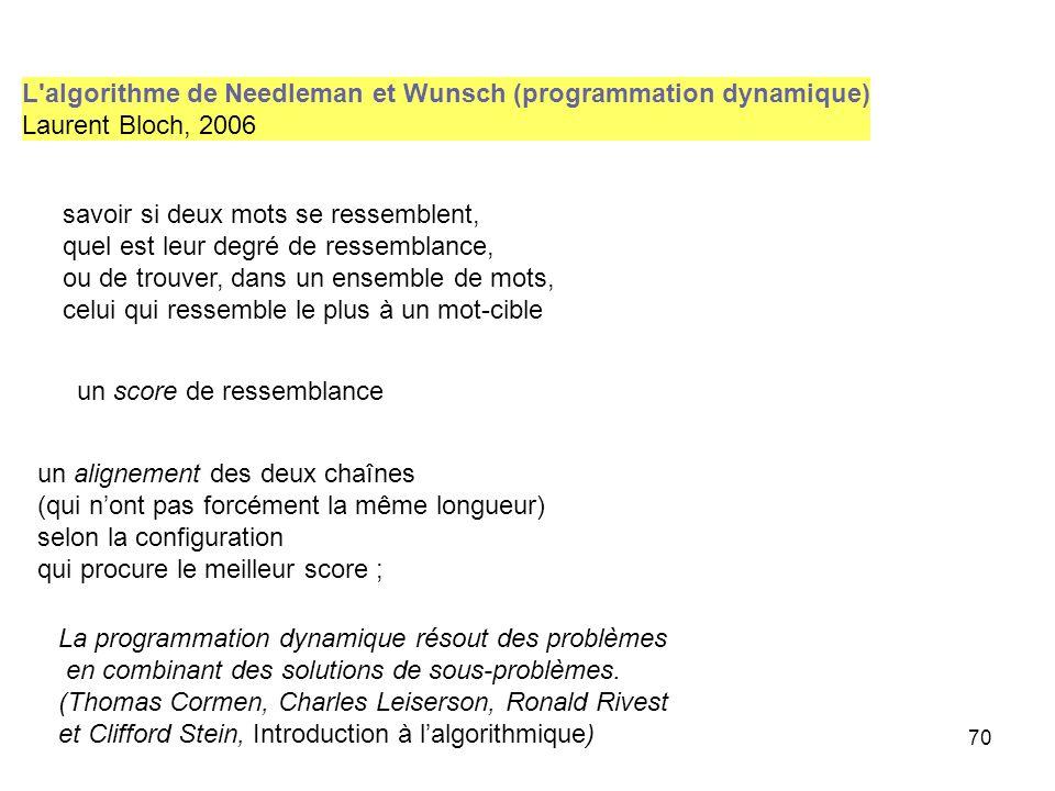 70 L'algorithme de Needleman et Wunsch (programmation dynamique) Laurent Bloch, 2006 un score de ressemblance savoir si deux mots se ressemblent, quel