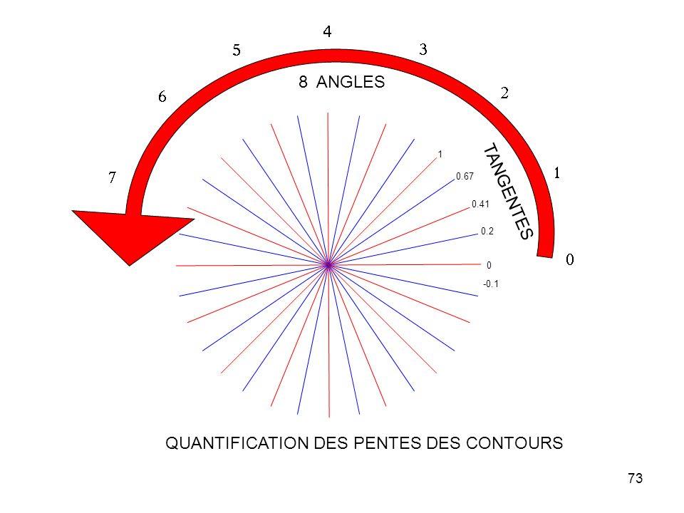 73 0 0.2 0.41 1 0.67 TANGENTES -0.1 8 ANGLES QUANTIFICATION DES PENTES DES CONTOURS