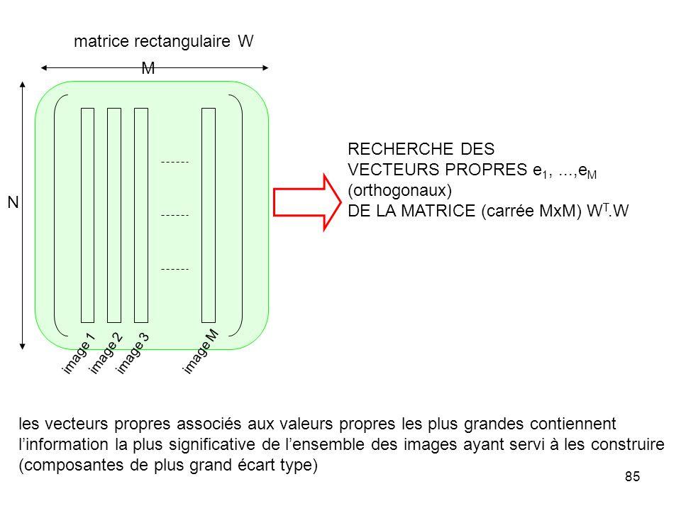 85 image 1image 2image 3 image M matrice rectangulaire W RECHERCHE DES VECTEURS PROPRES e 1,...,e M (orthogonaux) DE LA MATRICE (carrée MxM) W T.W N M