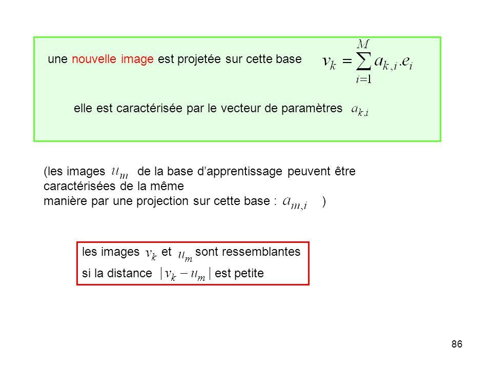86 une nouvelle image est projetée sur cette base elle est caractérisée par le vecteur de paramètres (les images de la base dapprentissage peuvent êtr
