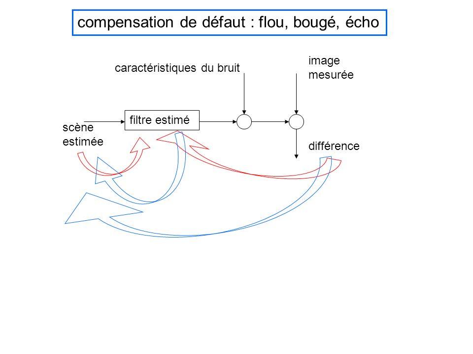 scène estimée filtre estimé caractéristiques du bruit compensation de défaut : flou, bougé, écho image mesurée différence