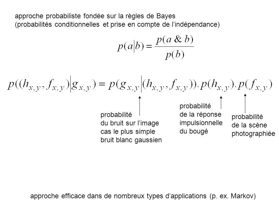 approche probabiliste fondée sur la règles de Bayes (probabilités conditionnelles et prise en compte de lindépendance) probabilité du bruit sur limage