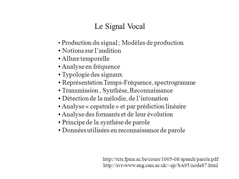 Analyse par prédiction linéaire Canal vocal Impusions (cordes vocales) Bruit (pour les fricatives) Signal Synthétique Filtre récursif dont la réponse en fréquence est celle du spectre à court terme (~ 20 ms)