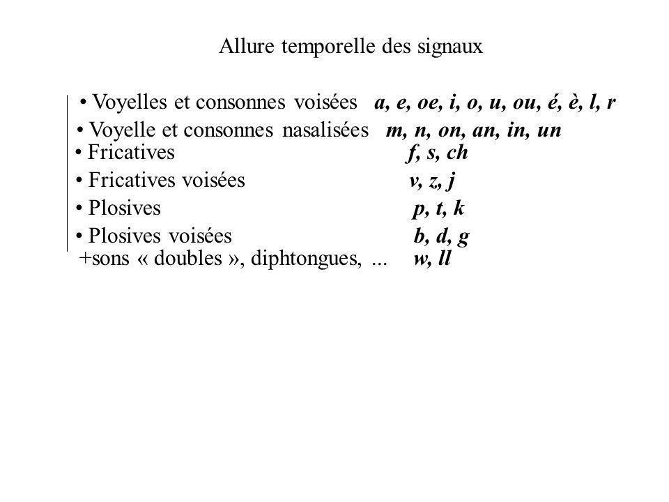 Allure temporelle des signaux Voyelles et consonnes voisées Fricatives Plosives Fricatives voisées Plosives voisées Voyelle et consonnes nasalisées a, e, oe, i, o, u, ou, é, è, l, r m, n, on, an, in, un f, s, ch v, z, j p, t, k b, d, g +sons « doubles », diphtongues,...w, ll