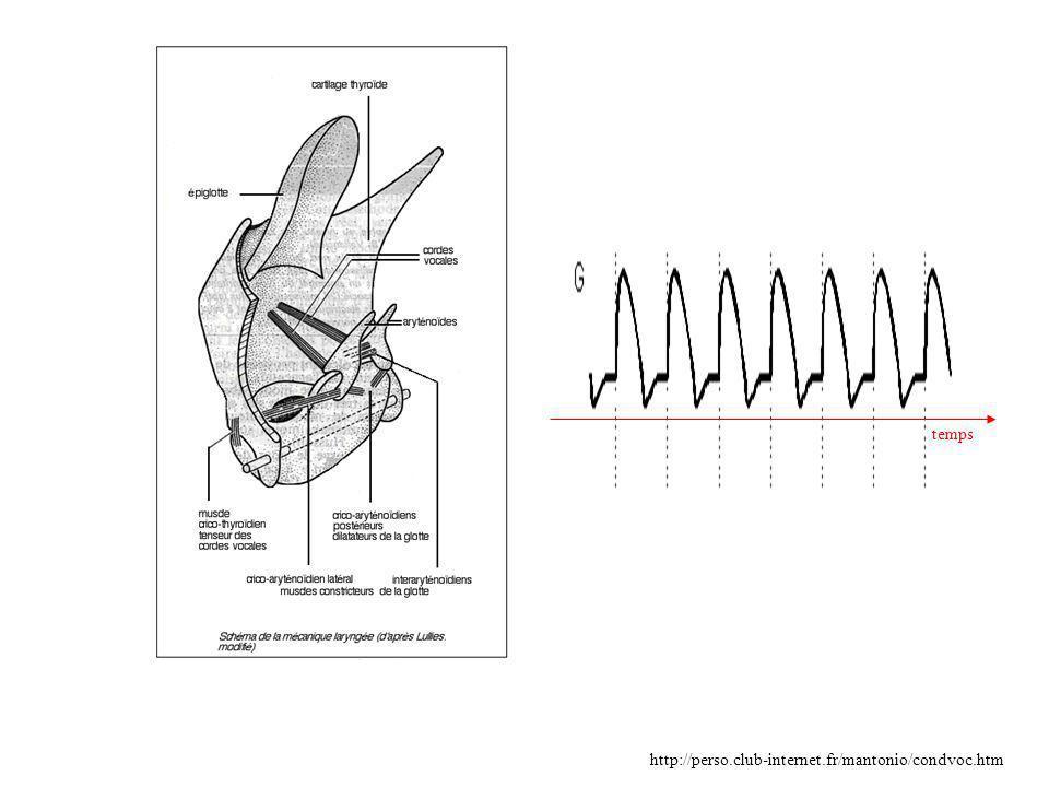 Spectre de la portion de signal analysé Réponse en fréquence du filtre récursif modélisant le signal vocal Analyse par prédiction linéaire fréquence