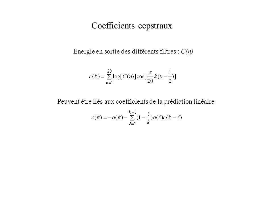 Coefficients cepstraux Energie en sortie des différents filtres : C(n) Peuvent être liés aux coefficients de la prédiction linéaire