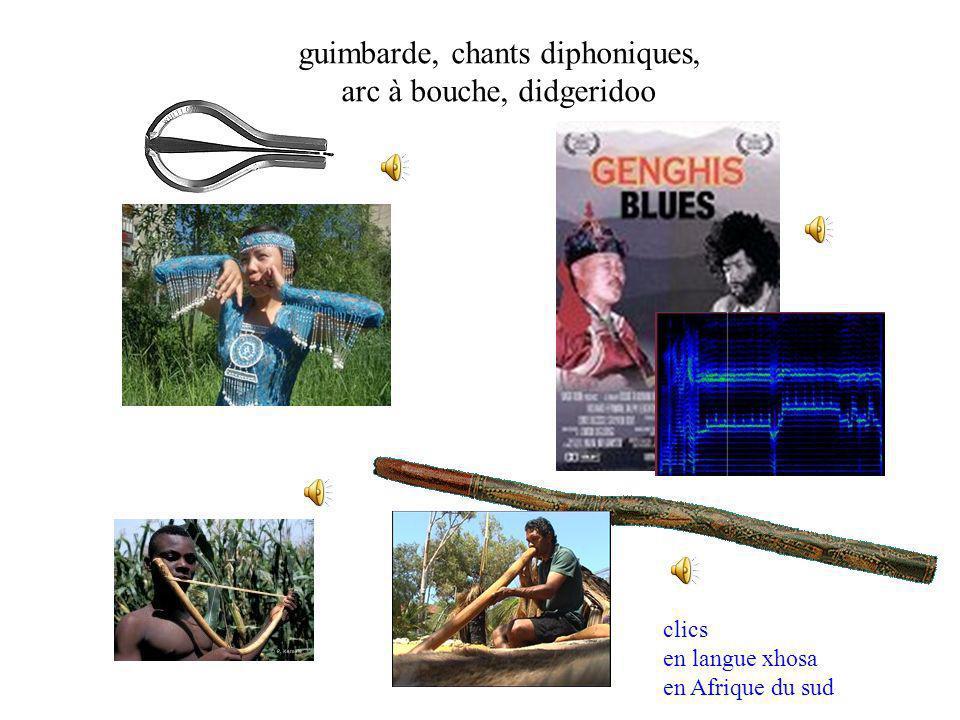 guimbarde, chants diphoniques, arc à bouche, didgeridoo clics en langue xhosa en Afrique du sud