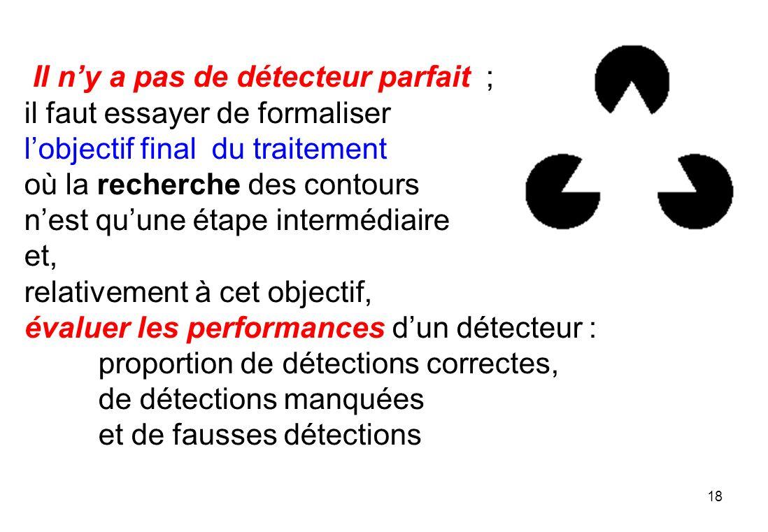 18 Il ny a pas de détecteur parfait ; il faut essayer de formaliser lobjectif final du traitement où la recherche des contours nest quune étape interm