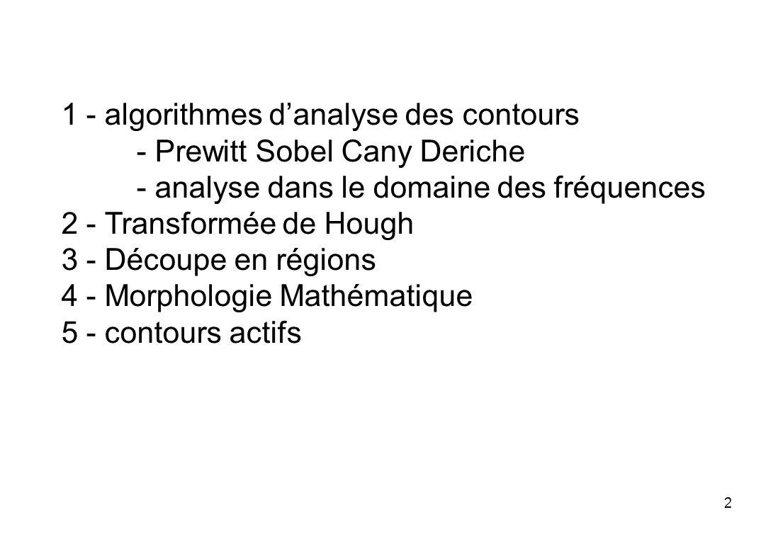 2 1 - algorithmes danalyse des contours - Prewitt Sobel Cany Deriche - analyse dans le domaine des fréquences 2 - Transformée de Hough 3 - Découpe en