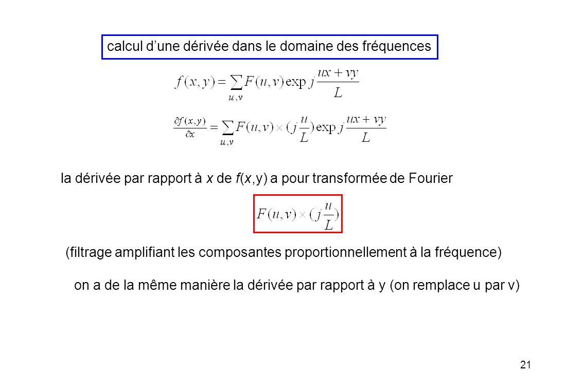 21 calcul dune dérivée dans le domaine des fréquences la dérivée par rapport à x de f(x,y) a pour transformée de Fourier on a de la même manière la dé