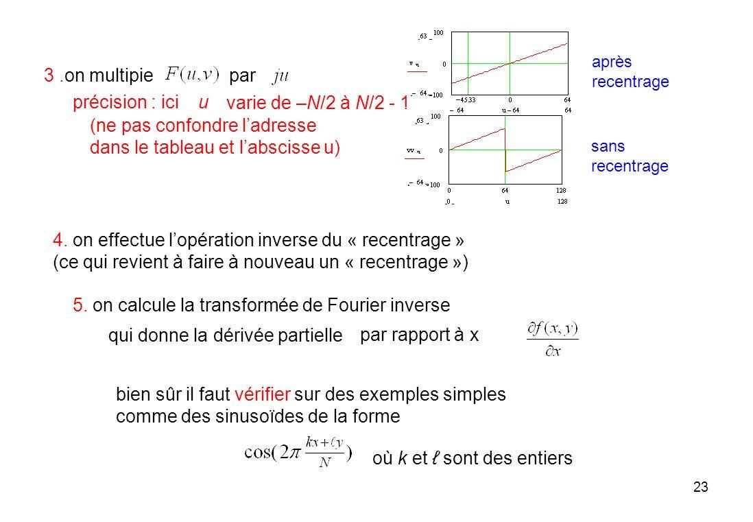 23 3.on multipiepar varie de –N/2 à N/2 - 1 u 4. on effectue lopération inverse du « recentrage » (ce qui revient à faire à nouveau un « recentrage »)