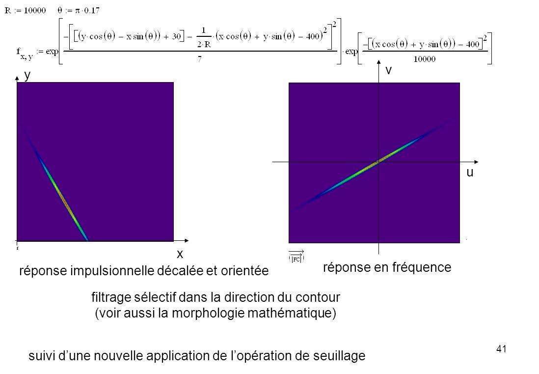 41 filtrage sélectif dans la direction du contour (voir aussi la morphologie mathématique) suivi dune nouvelle application de lopération de seuillage