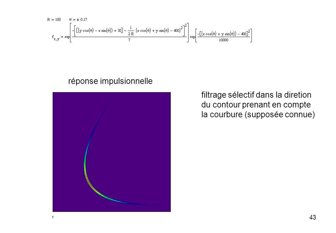 43 réponse impulsionnelle filtrage sélectif dans la diretion du contour prenant en compte la courbure (supposée connue)