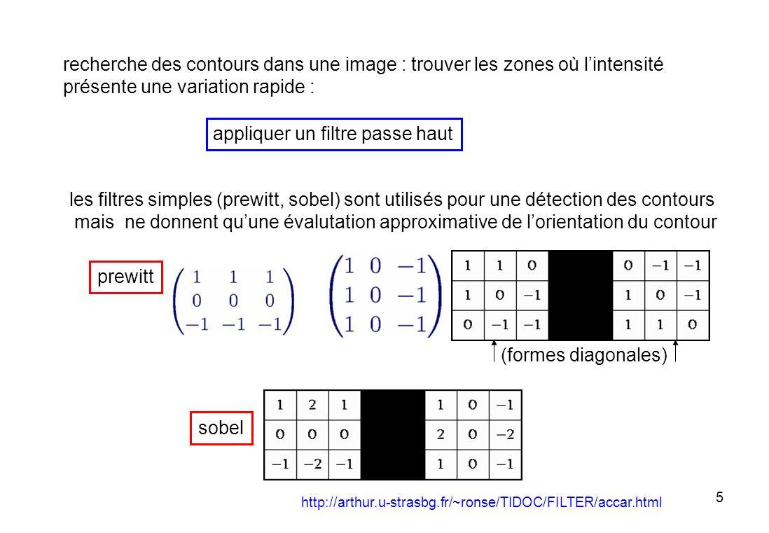 26 un contour : le module du gradient est fort la courbure est souvent faible (grand rayon) sur plusieurs pixels voisins (ce deuxième critère est rarement pris en compte sur les images réelles car il est difficile de mesurer la courbure du fait du bruit) points caractérisitiques (angles) : le module du gradient est fort la courbure présentant un pic (forte discontinuïté de la pente du gradient)