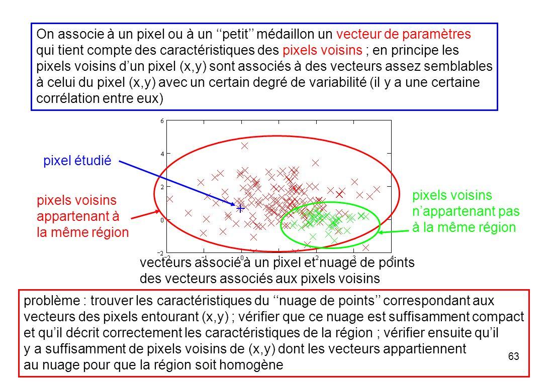 63 On associe à un pixel ou à un petit médaillon un vecteur de paramètres qui tient compte des caractéristiques des pixels voisins ; en principe les p