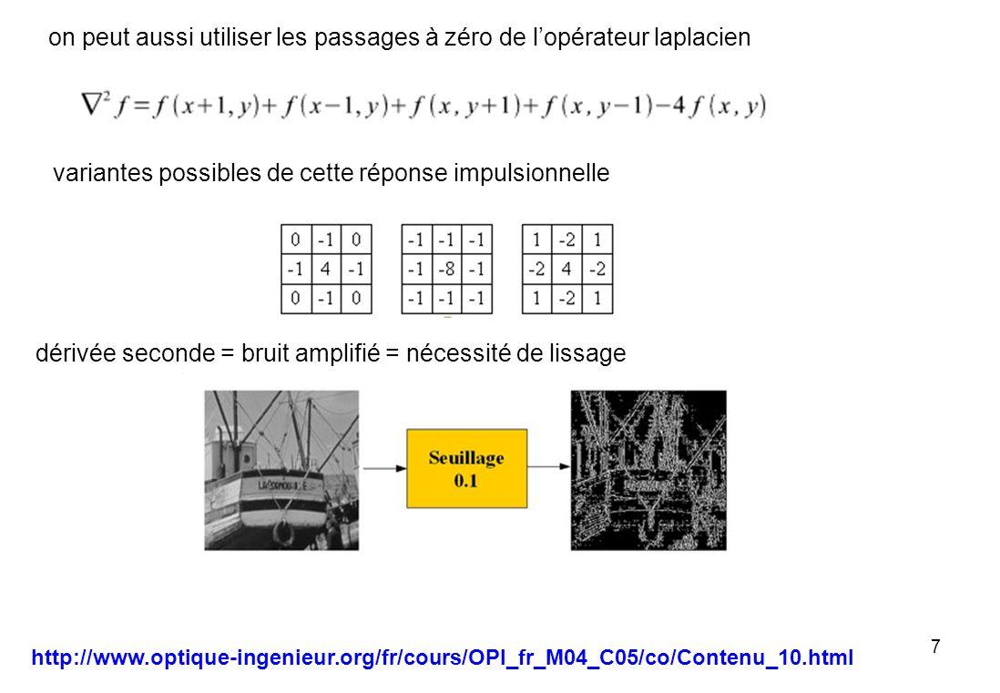 38 regroupement déléments de contours (chaînage) il faut dans certaines applications regrouper les éléments de contours qui se suivent en une chaîne mais les risques derreurs dus à limperfection de la détection sont importants connexité (le voisin appartient à un contour) prise en compte de lorientation du contour est ce que à partir de C, à une distance raisonnable (quelques pixels) dans la direction proche de, il y a un élément de contour de pente proche de ?