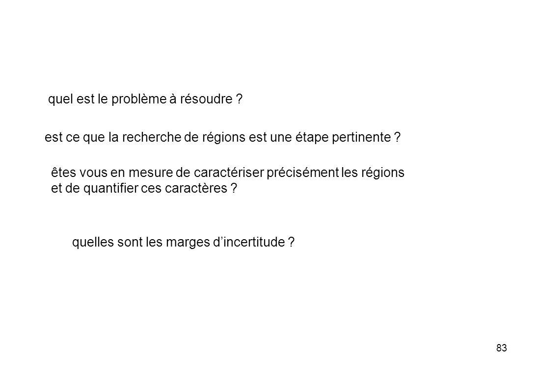 83 quel est le problème à résoudre ? est ce que la recherche de régions est une étape pertinente ? êtes vous en mesure de caractériser précisément les