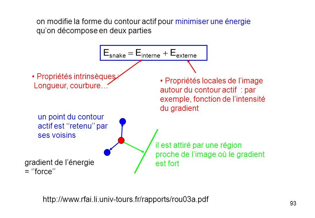 93 E snake E interne E externe Propriétés locales de limage autour du contour actif : par exemple, fonction de lintensité du gradient Propriétés intri