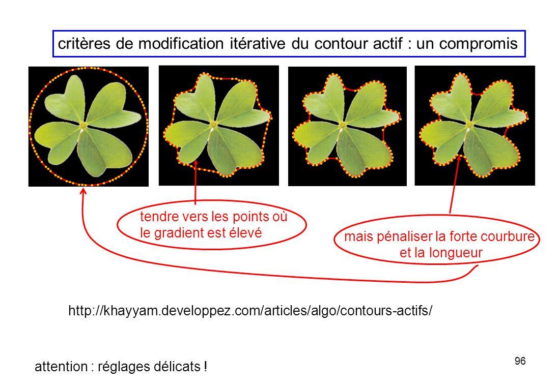 96 http://khayyam.developpez.com/articles/algo/contours-actifs/ tendre vers les points où le gradient est élevé critères de modification itérative du