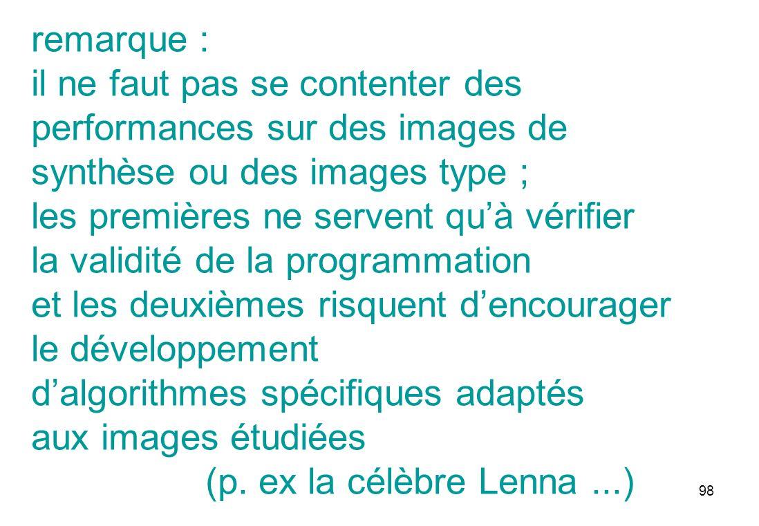 98 remarque : il ne faut pas se contenter des performances sur des images de synthèse ou des images type ; les premières ne servent quà vérifier la va