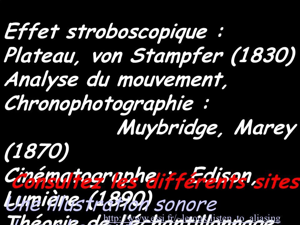 références Effet stroboscopique : Plateau, von Stampfer (1830) Analyse du mouvement, Chronophotographie : Muybridge, Marey (1870) Cinématographe : Edi