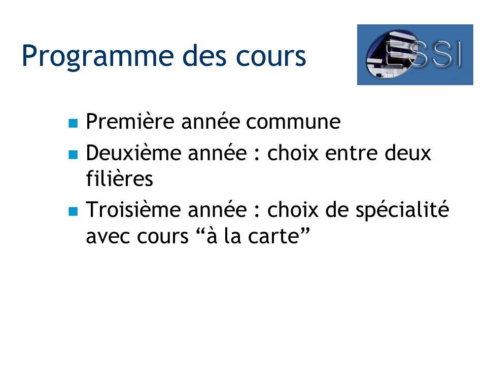 Programme des cours n Première année commune n Deuxième année : choix entre deux filières n Troisième année : choix de spécialité avec cours à la carte