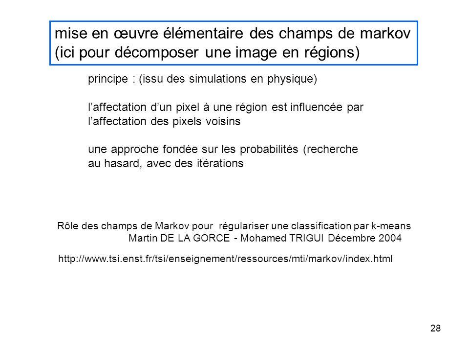 28 mise en œuvre élémentaire des champs de markov (ici pour décomposer une image en régions) http://www.tsi.enst.fr/tsi/enseignement/ressources/mti/ma