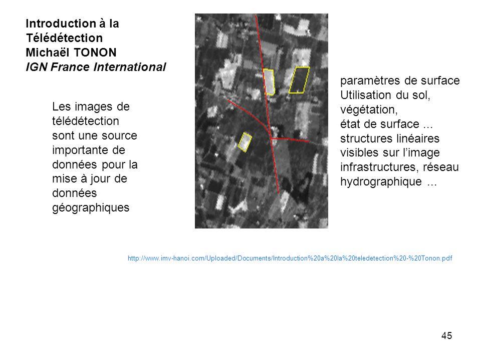 45 http://www.imv-hanoi.com/Uploaded/Documents/Introduction%20a%20la%20teledetection%20-%20Tonon.pdf Introduction à la Télédétection Michaël TONON IGN