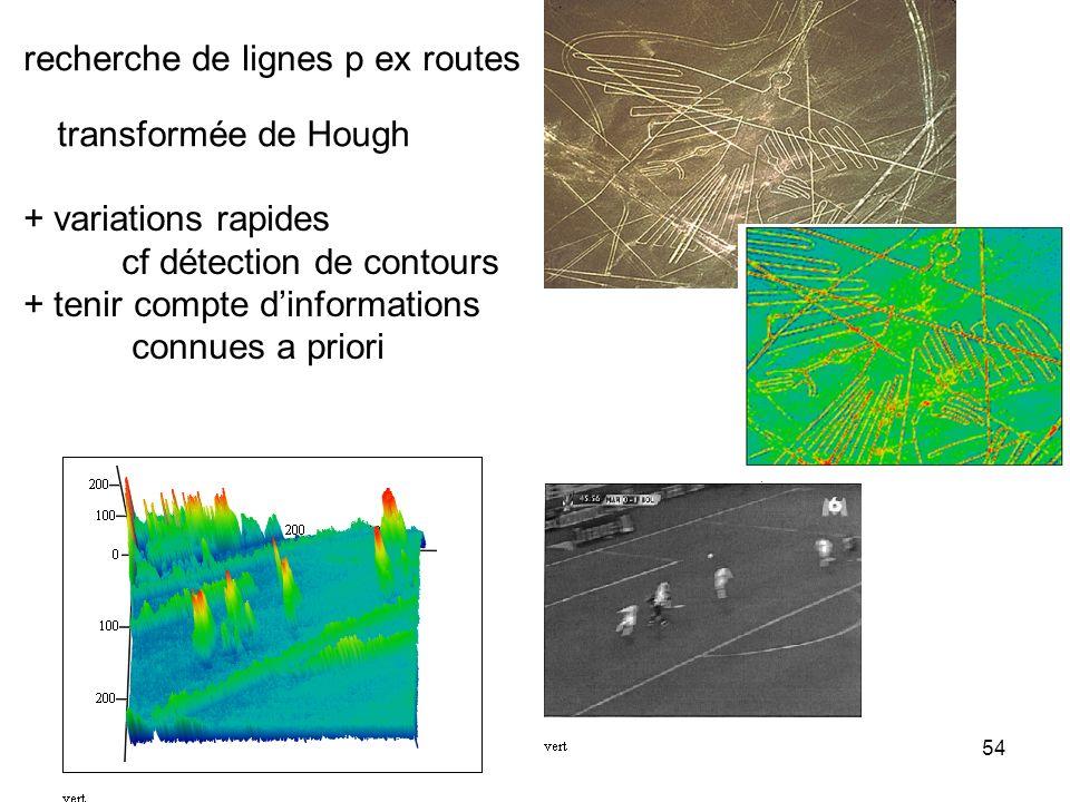 54 recherche de lignes p ex routes transformée de Hough + variations rapides cf détection de contours + tenir compte dinformations connues a priori