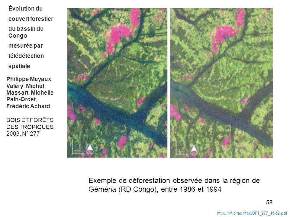 58 Philippe Mayaux, Valéry, Michel Massart, Michelle Pain-Orcet, Frédéric Achard http://bft.cirad.fr/cd/BFT_277_45-52.pdf Évolution du couvert foresti