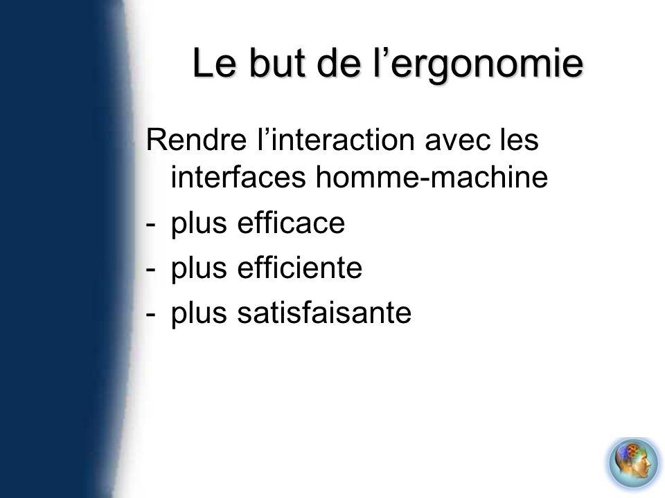 Le but de lergonomie Rendre linteraction avec les interfaces homme-machine -plus efficace -plus efficiente -plus satisfaisante